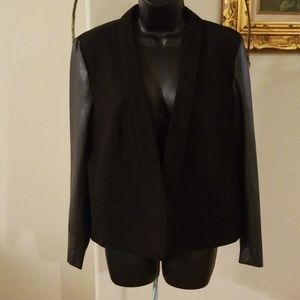 LOFT Black Blazer with Faux Leather Sleeves
